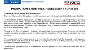 An Analysis of the Metropolitan Police risk assessment form 696 on the live urban musicindustry